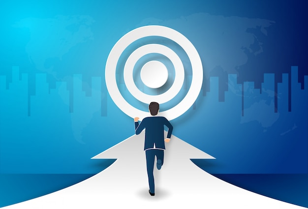 Businessman step forward to the target, to be success Premium Vector