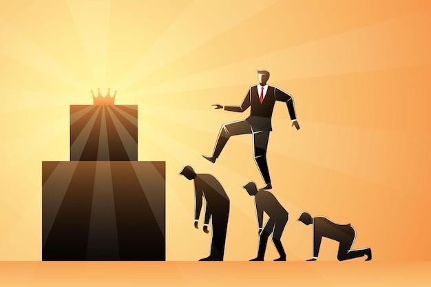 王冠に到達するために高く登るために同僚の背中を踏むビジネスマン