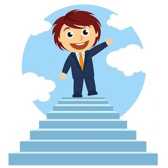 Businessman on steps