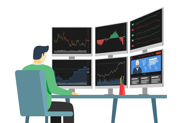 Businessman stock market trader in workplace looking at multiple computer screens with financial charts, diagrams and graphs. business index analysis concept. broker exchange trading multi-monitor eps
