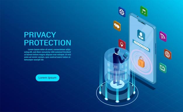 Бизнесмен стоял перед мобильным защитить данные и конфиденциальность с высоким уровнем безопасности