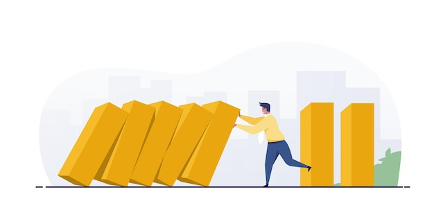 Businessman stopping falling domino effect.