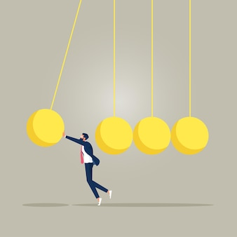 Businessman stopping newtons cradle stop domino effect finance intervention
