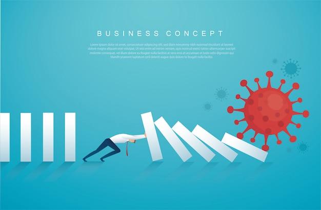 Бизнесмен останавливает эффект домино от коронавируса