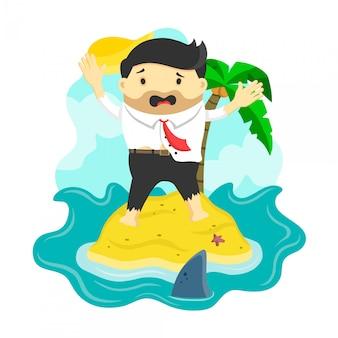 サメ、危険、ビジネスリスク、破産に囲まれた島に取り残されたビジネスマン、