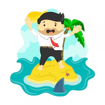 Businessman stranded in an island surrounded by shark, danger, business risk, bankruptcy ,