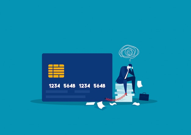 Businessman stress debt  with foot chained to bank credit card trying to escape. illustration