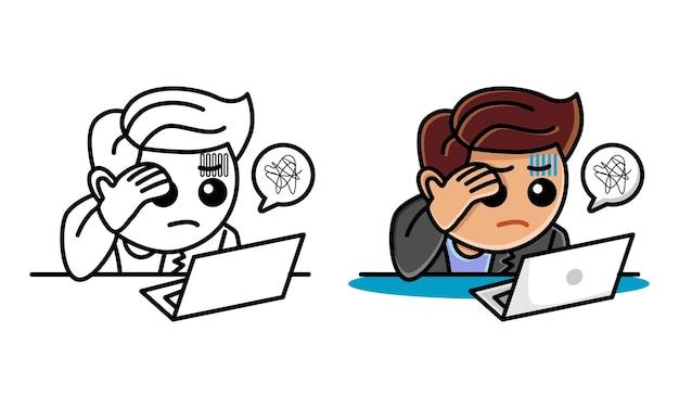 子供のためのビジネスマンのストレスの多い着色ページ