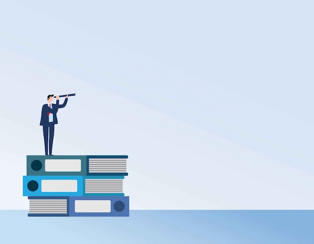 Businessman or student standing on book looking at future.