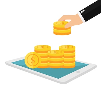 Businessman successful stacking coin on screen phone