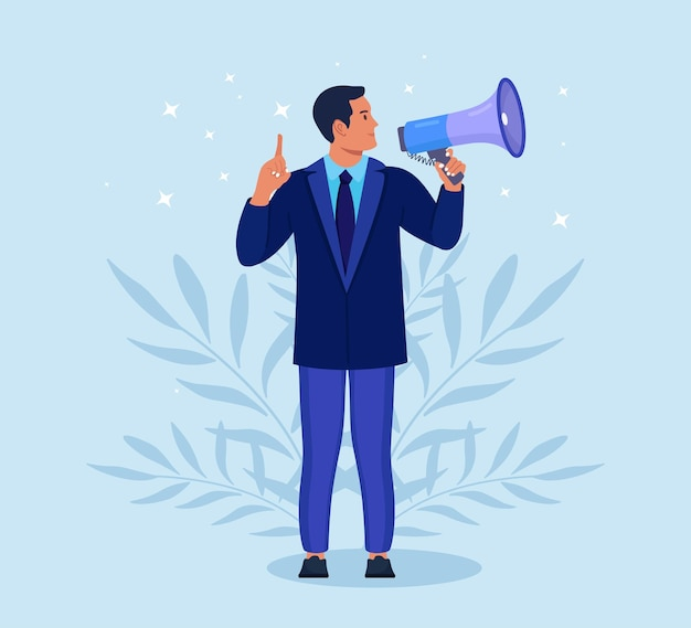 Businessman in suit holding megaphone and shouting through it. announcement of good news. attention please. speaker, loudspeaker with bullhorn. advertising and promotion. social media marketing