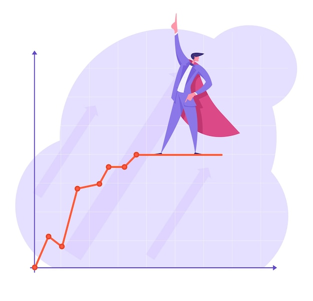 Businessman in super hero cape pointing finger up stand on growing chart broken curve line