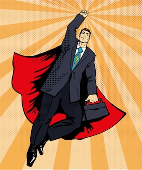Businessman super hero flying with briefcase