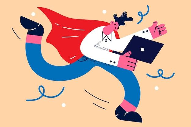 사업가 슈퍼 히어로와 먼 작업 개념입니다. 노트북을 가지고 달리는 젊은 사업가 만화 캐릭터는 아이디어와 혁신 벡터 삽화로 열정적입니다.
