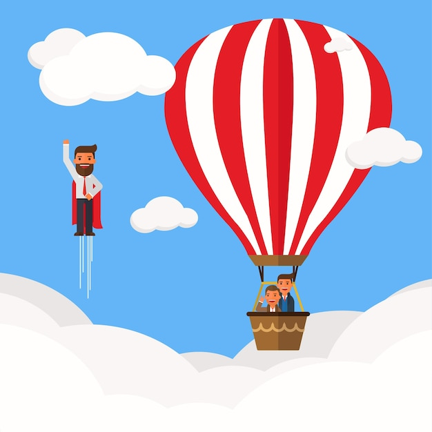Businessman superhero fly pass businessman in hot air balloon