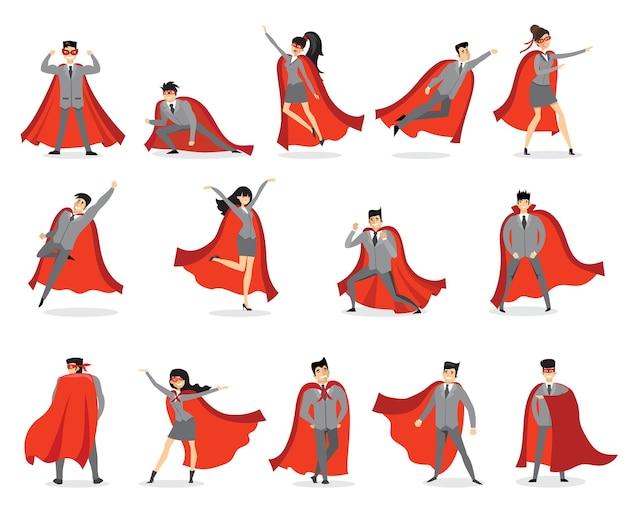 사업가 슈퍼 히어로. 액션 슈퍼 히어로 포즈를 취하는 회사원, 빨간 망토를 입은 슈퍼 히어로 남성 캐릭터. 강력한 사업가 벡터 일러스트 레이 션을 설정합니다. 비행 의상을 입은 직원 또는 슈퍼맨