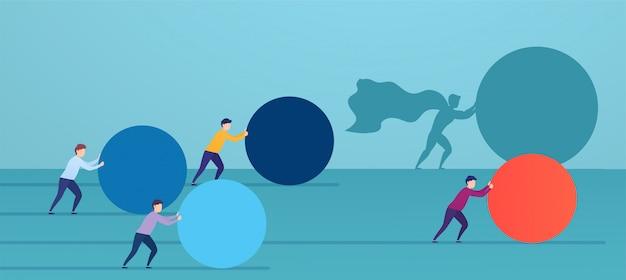 ビジネスマンのスーパーヒーローが赤い球を押して、競合他社を追い抜いています。