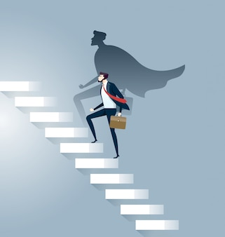 Businessman superhero successful in career ladder concept