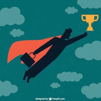 Businessman superhero with trophy