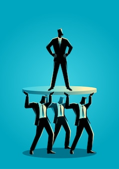 Businessman supported by business colleagues