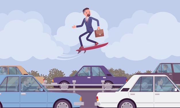 Businessman surfing on modern speed board over traffic jam