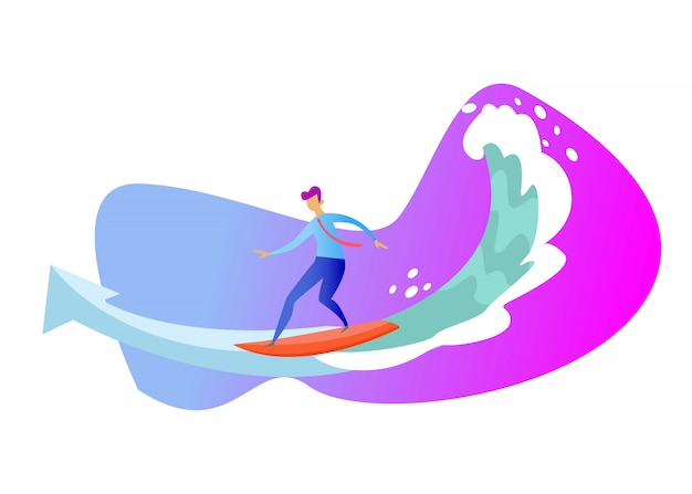 Businessman surfing the rising arrow. business concept
