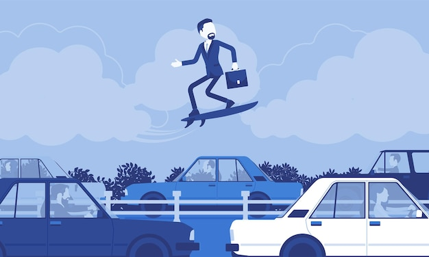 Businessman surfing on speed board over traffic jam. creative adventurous male manager takes risks, entrepreneur tries new business methods, ideas, gets high. vector illustration, faceless characters