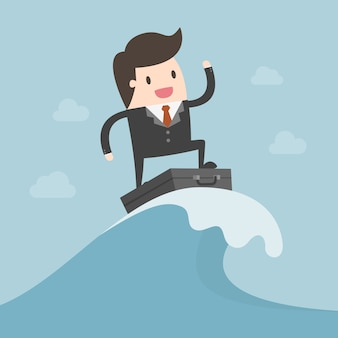 Businessman surfing on the wave.