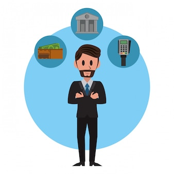 Businessman and symbols