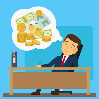 Businessman at the table dreaming about money   illustration