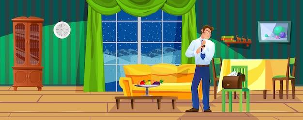 自宅でリラックスした高級リビングルームで時計を脱いでいるビジネスマンアパートで休んでいる男性の上司