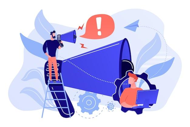 ビジネスマンは感嘆符付きのメガホンで話します。注意を引き、注意のスパンと注意を払い、白い背景に注意の概念を要求します。