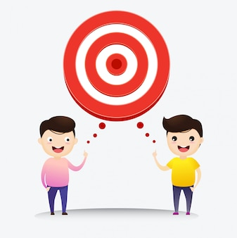 Businessman talk with target to success. businessman with target in his think bubble