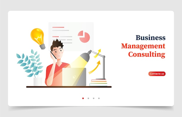 Businessman talking on his phone and working on laptop. website design or landing page. flat design character cartoon.