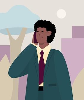 Бизнесмен разговаривает по мобильному телефону с плоской векторной иллюстрацией