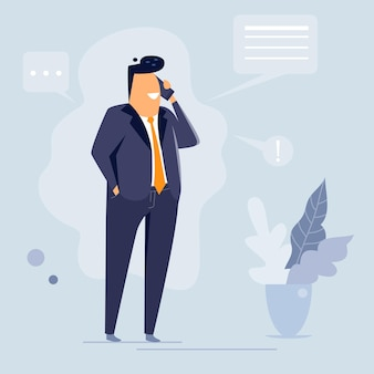 Бизнесмен разговаривает по телефону, плоский дизайн персонажей, векторные иллюстрации