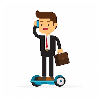 Businessman talking with mobile phone on hoverboarding