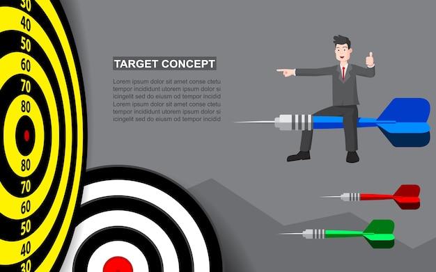 Businessman on target dart template for business goal. shooting target success market concept