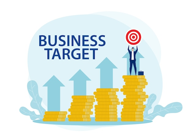 Businessman target and success achievement flat illustration