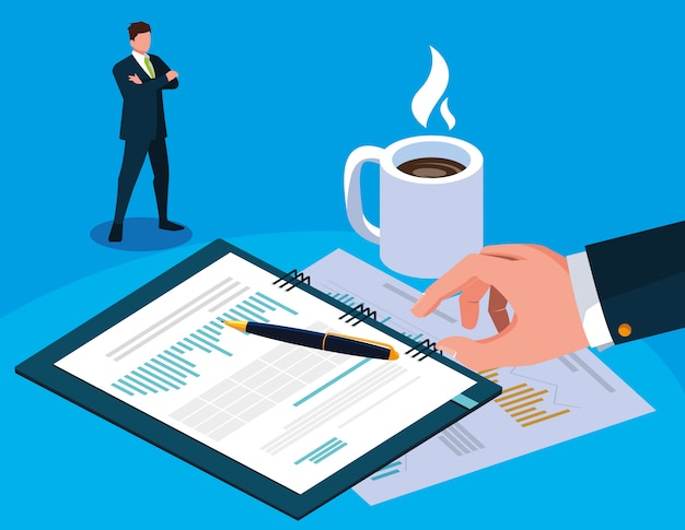 Businessman in tax day with planner and icons