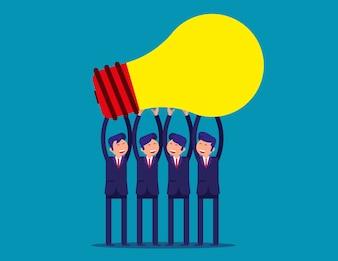 Businessman team holding idea light bulbs above his head.