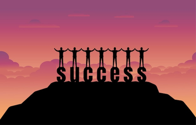 Businessman team stands on success text with sunset background. success concept. business and target in the financial