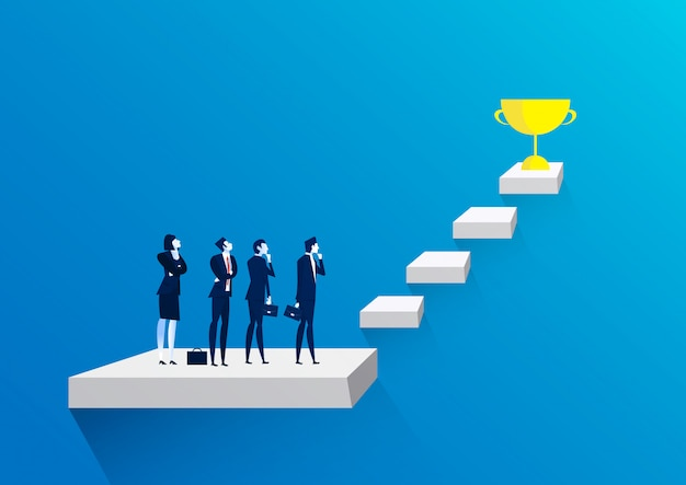 Businessman team thinking with stairs to golden trophy as symbol of success.