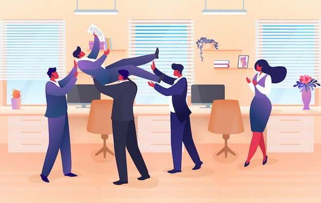 Businessman team tossing in air colleague, success