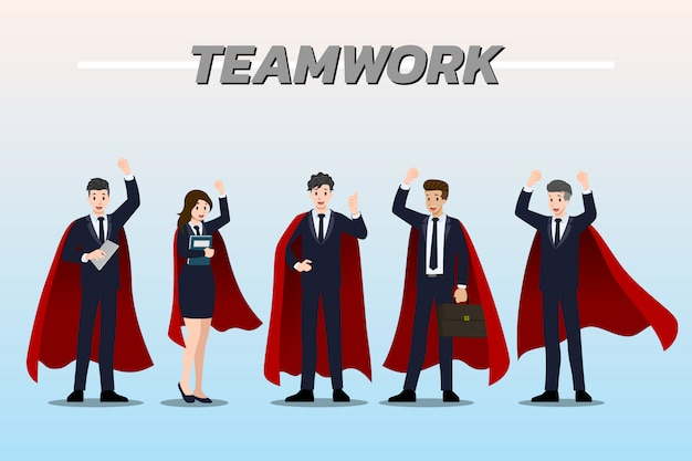 Businessman teamwork wearing red cape.