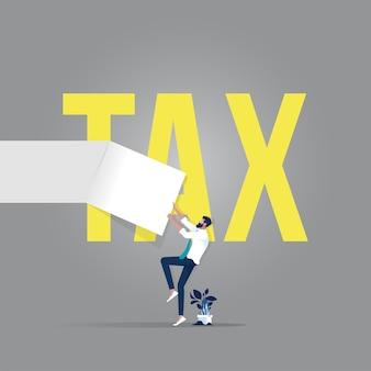 세금, 금융 및 이익 개념 단어로 사업가 눈물 종이 문서