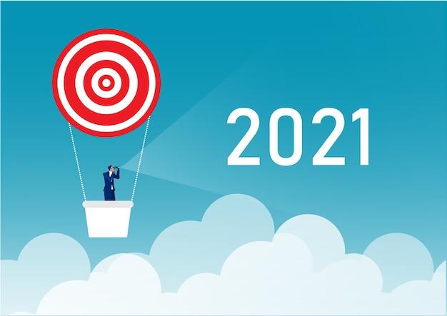 気球投資の概念に関する将来のビジネスマン望遠鏡