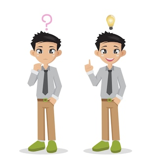 Businessman thinking of doubt and get idea in think.