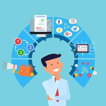 Businessman thinking infographic elements