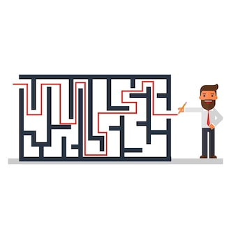 Businessman thinking solution of a maze